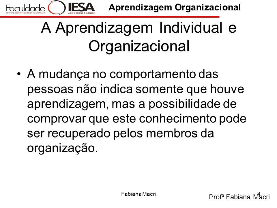 A Aprendizagem Individual e Organizacional