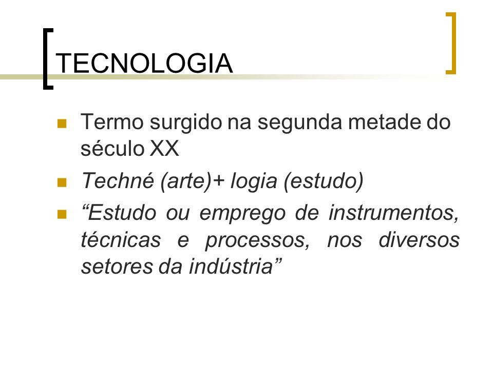 TECNOLOGIA Termo surgido na segunda metade do século XX