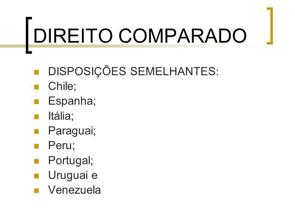 DIREITO COMPARADO DISPOSIÇÕES SEMELHANTES: Chile; Espanha; Itália;