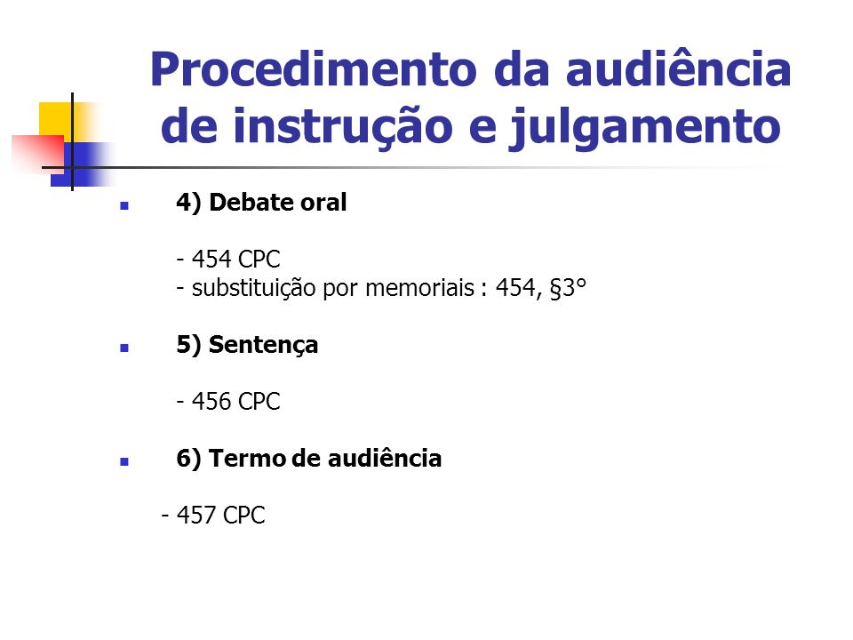 Procedimento da audiência de instrução e julgamento