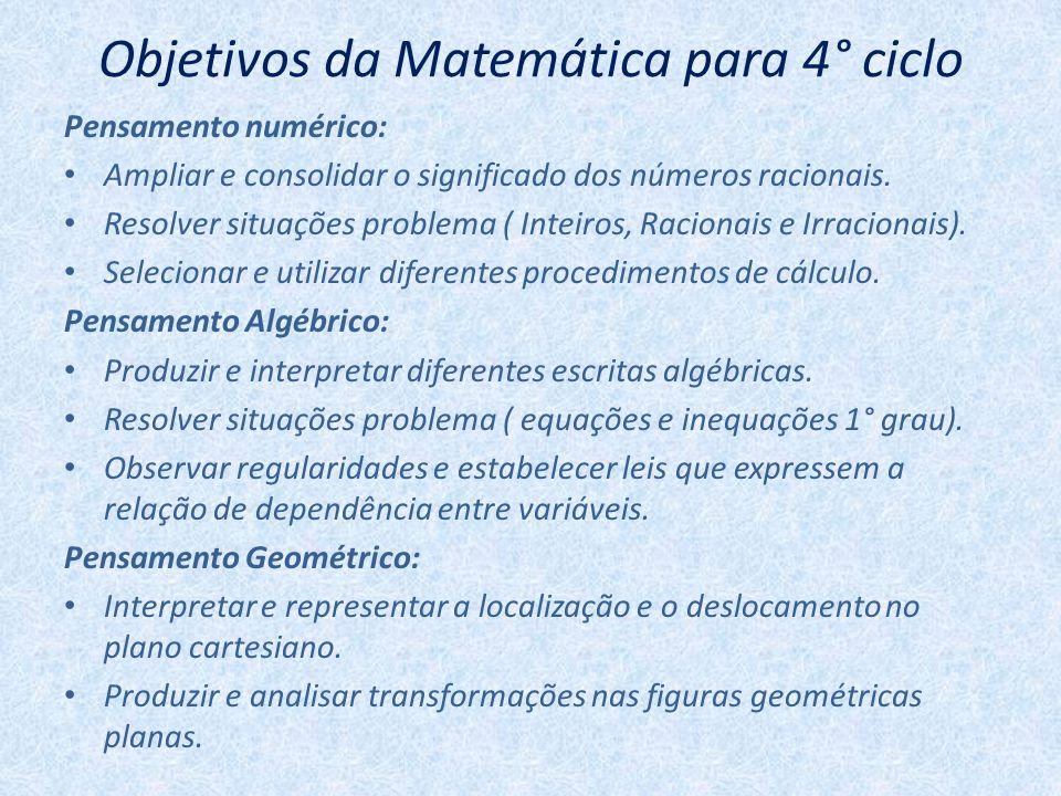 Objetivos da Matemática para 4° ciclo