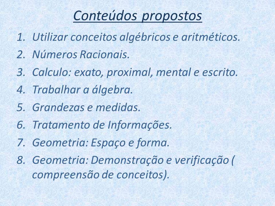 Conteúdos propostos Utilizar conceitos algébricos e aritméticos.
