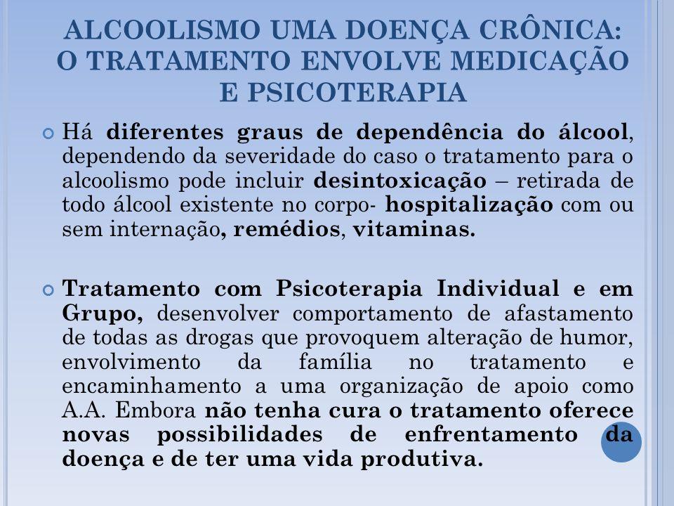 ALCOOLISMO UMA DOENÇA CRÔNICA: O TRATAMENTO ENVOLVE MEDICAÇÃO E PSICOTERAPIA