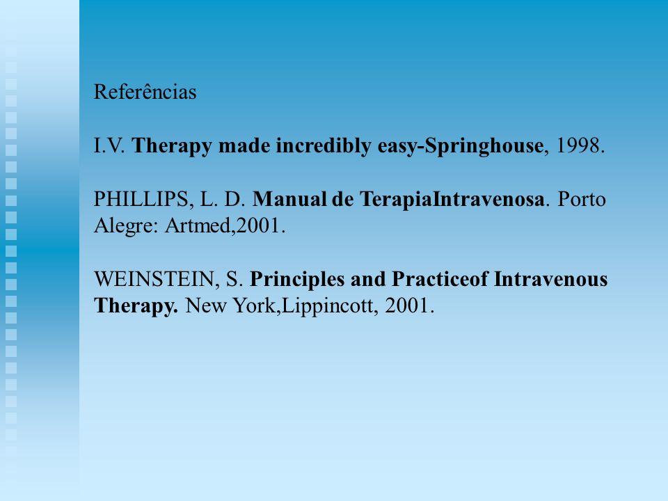 ReferênciasI.V. Therapy made incredibly easy-Springhouse, 1998. PHILLIPS, L. D. Manual de TerapiaIntravenosa. Porto Alegre: Artmed,2001.