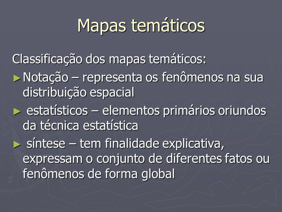 Mapas temáticos Classificação dos mapas temáticos: