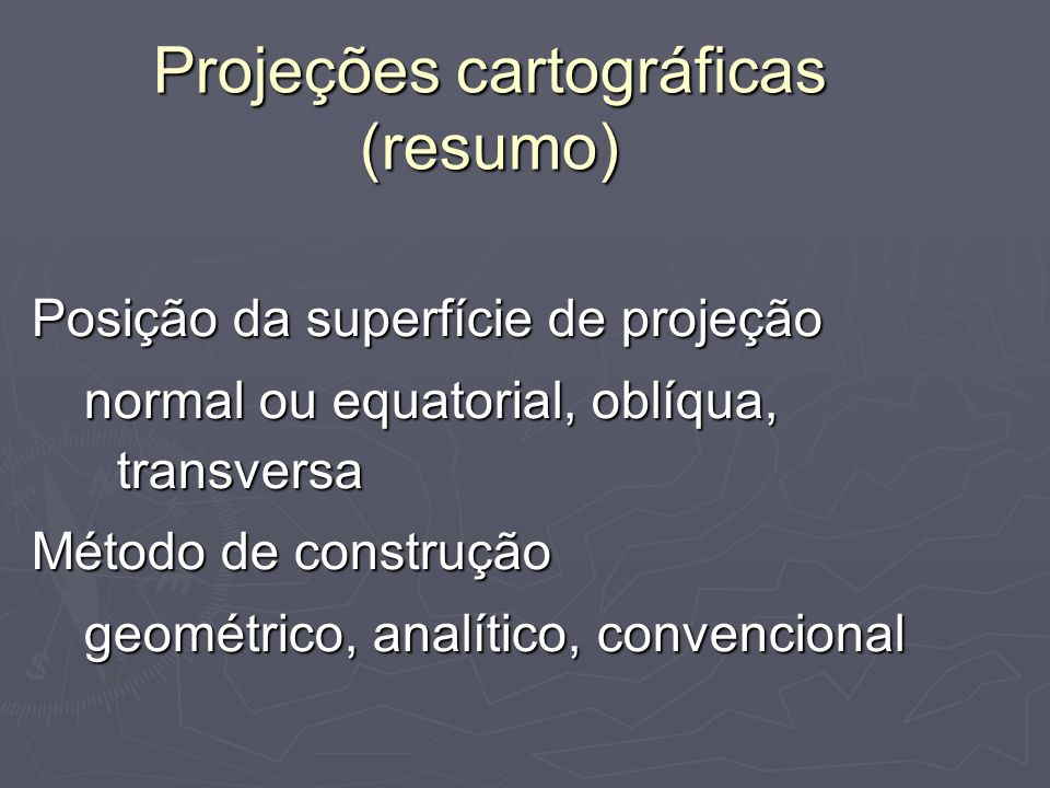 Projeções cartográficas (resumo)