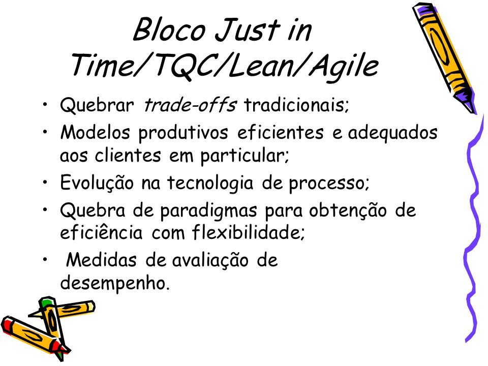 Bloco Just in Time/TQC/Lean/Agile