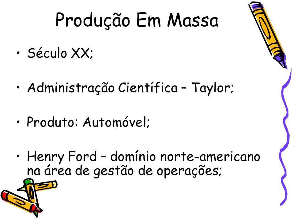 Produção Em Massa Século XX; Administração Científica – Taylor;