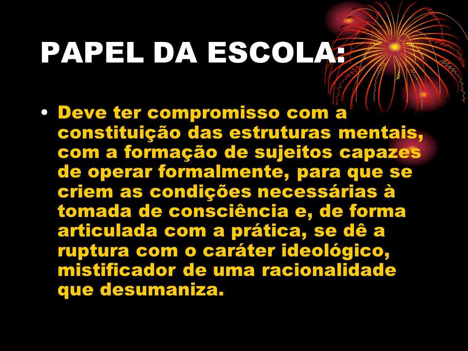 PAPEL DA ESCOLA: