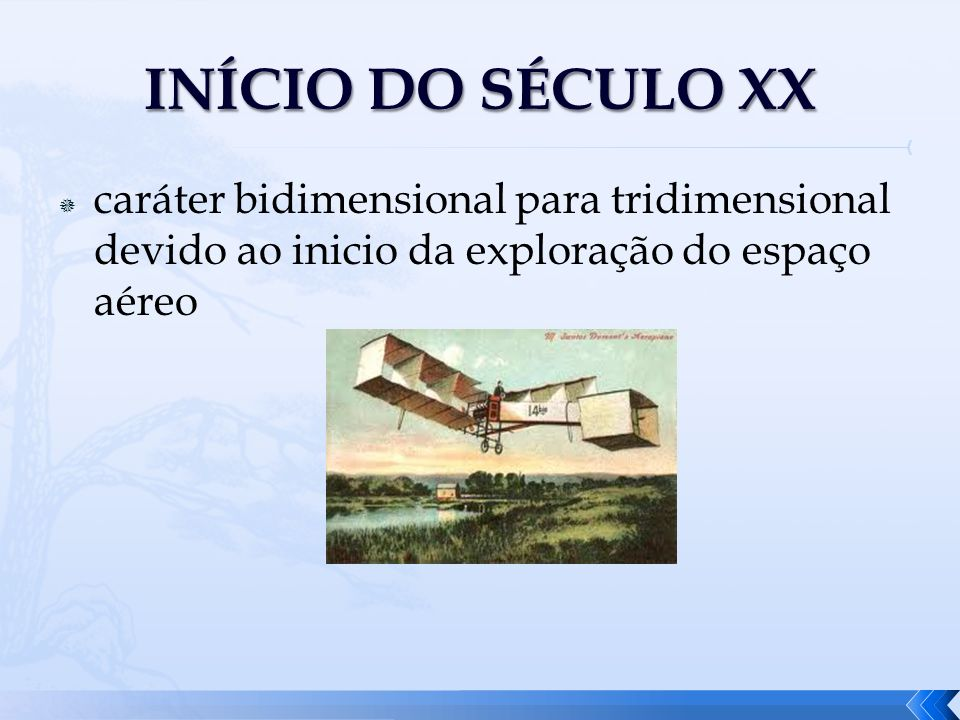 INÍCIO DO SÉCULO XX caráter bidimensional para tridimensional devido ao inicio da exploração do espaço aéreo.