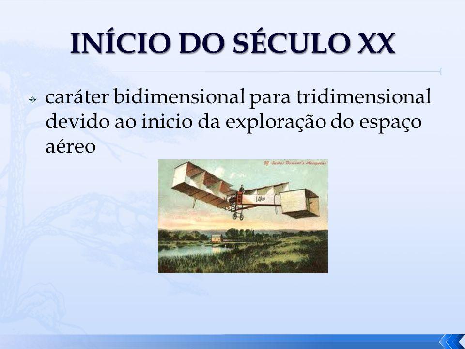 INÍCIO DO SÉCULO XXcaráter bidimensional para tridimensional devido ao inicio da exploração do espaço aéreo.