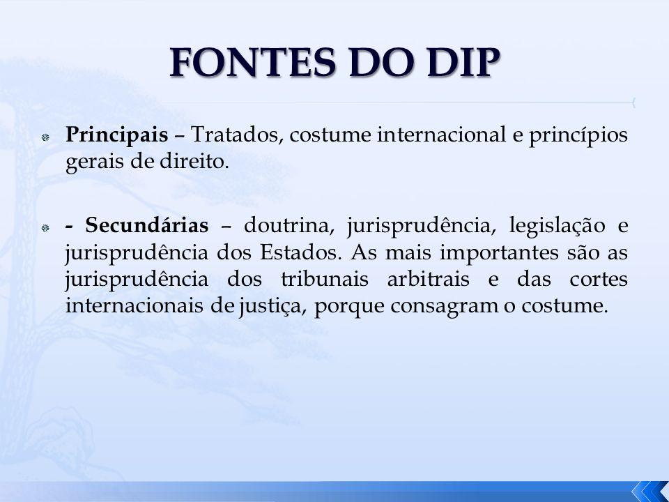 FONTES DO DIPPrincipais – Tratados, costume internacional e princípios gerais de direito.