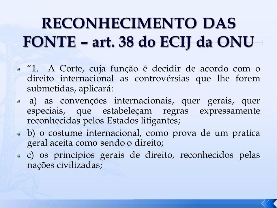 RECONHECIMENTO DAS FONTE – art. 38 do ECIJ da ONU