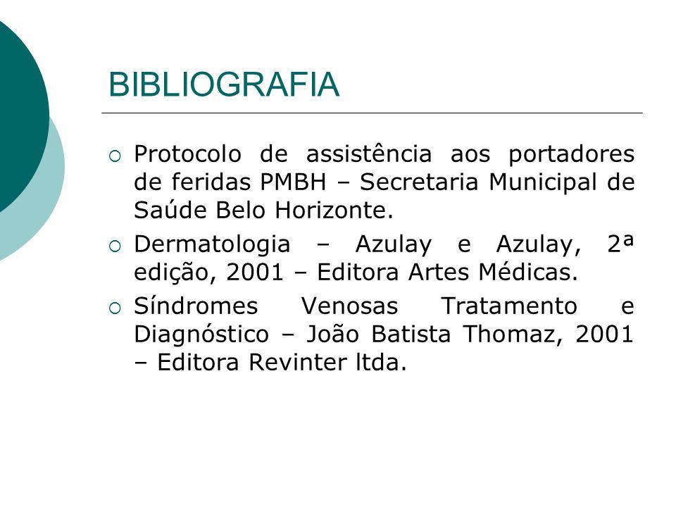 BIBLIOGRAFIA Protocolo de assistência aos portadores de feridas PMBH – Secretaria Municipal de Saúde Belo Horizonte.