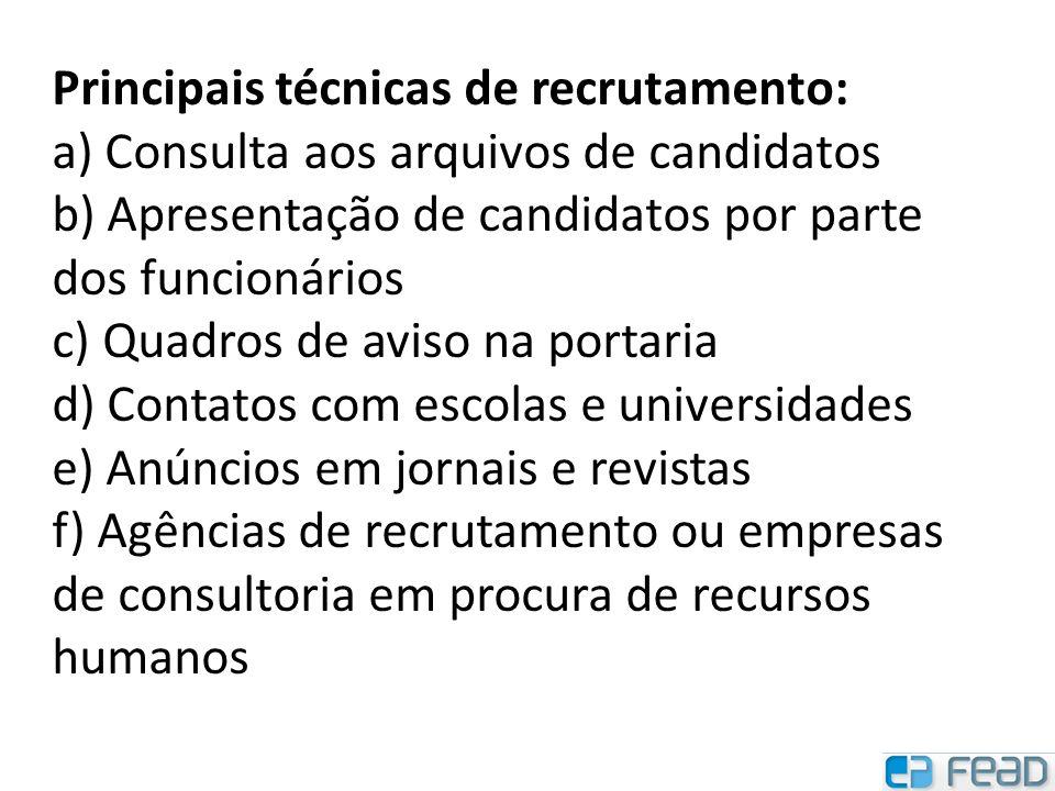 Principais técnicas de recrutamento:
