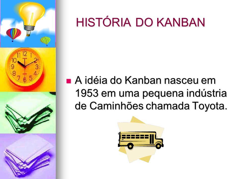 HISTÓRIA DO KANBAN A idéia do Kanban nasceu em 1953 em uma pequena indústria de Caminhões chamada Toyota.