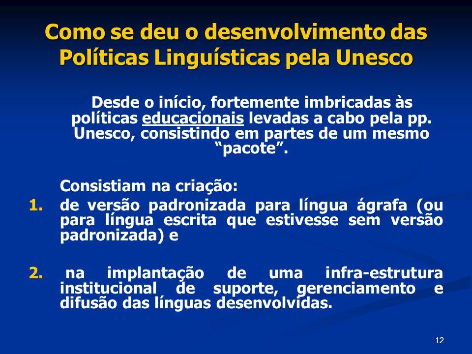 Como se deu o desenvolvimento das Políticas Linguísticas pela Unesco