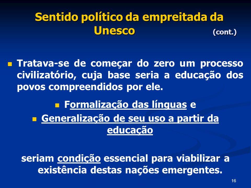 Sentido político da empreitada da Unesco (cont.)