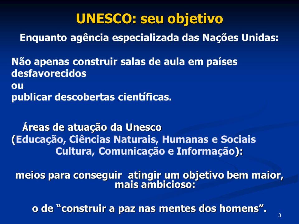 UNESCO: seu objetivo Enquanto agência especializada das Nações Unidas: