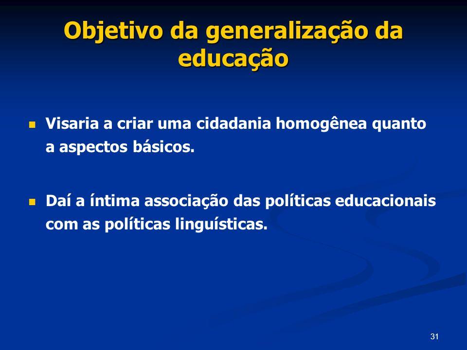 Objetivo da generalização da educação