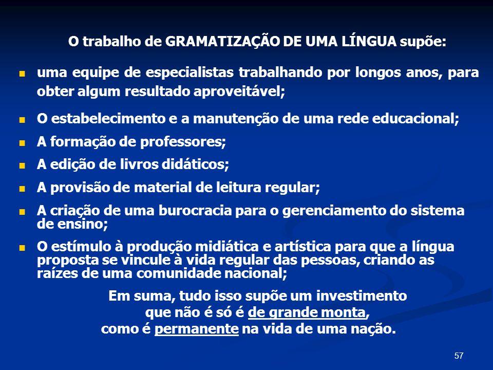 O trabalho de GRAMATIZAÇÃO DE UMA LÍNGUA supõe: