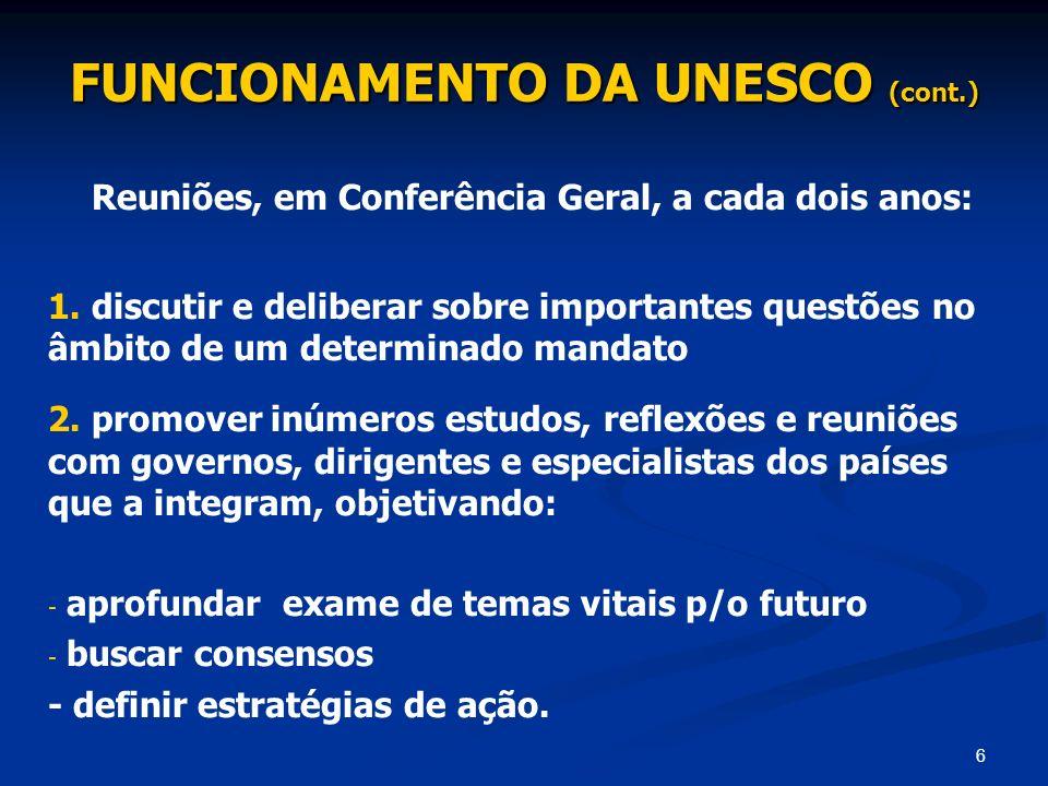 FUNCIONAMENTO DA UNESCO (cont.)