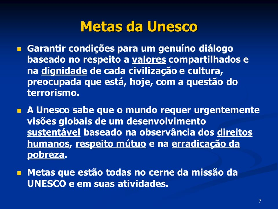 Metas da Unesco