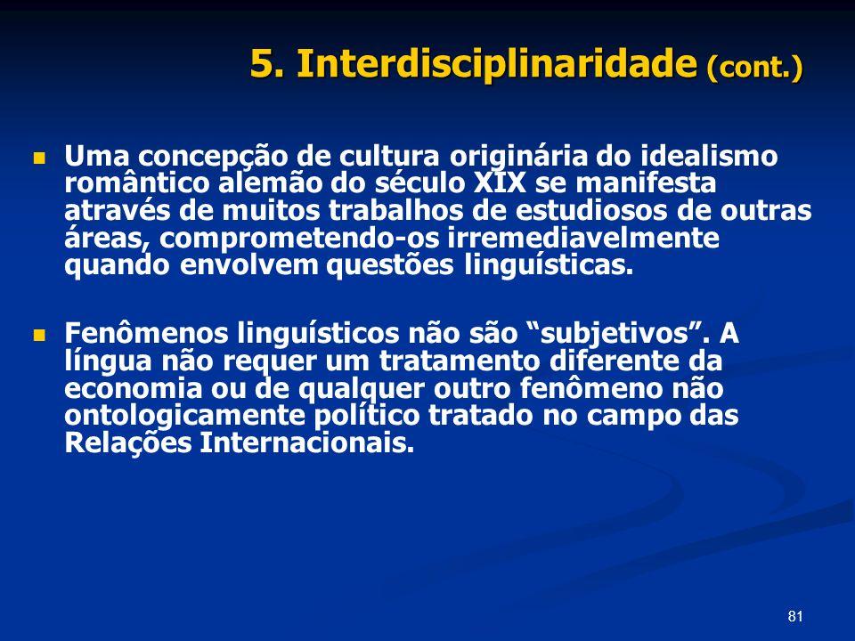 5. Interdisciplinaridade (cont.)