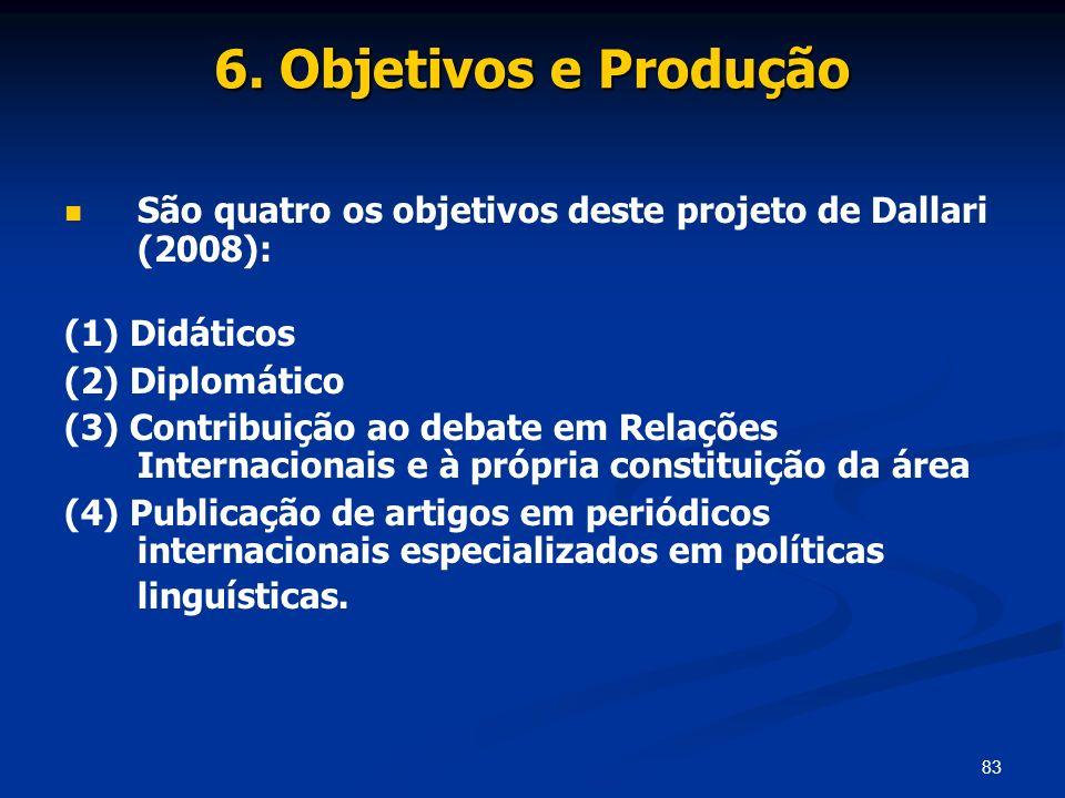 6. Objetivos e Produção São quatro os objetivos deste projeto de Dallari (2008): (1) Didáticos. (2) Diplomático.