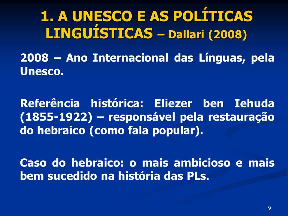 1. A UNESCO E AS POLÍTICAS LINGUÍSTICAS – Dallari (2008)