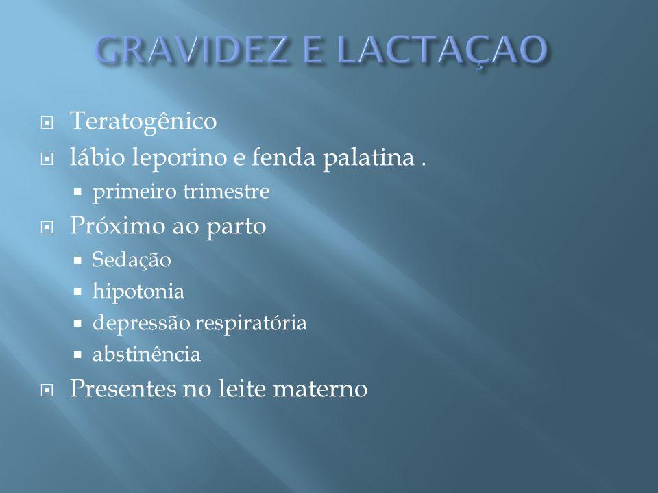 GRAVIDEZ E LACTAÇAO Teratogênico lábio leporino e fenda palatina .