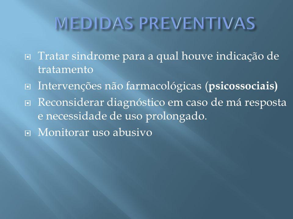 MEDIDAS PREVENTIVAS Tratar sindrome para a qual houve indicação de tratamento. Intervenções não farmacológicas (psicossociais)