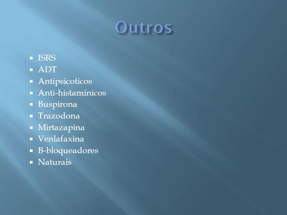 Outros ISRS ADT Antipsicoticos Anti-histamínicos Buspirona Trazodona