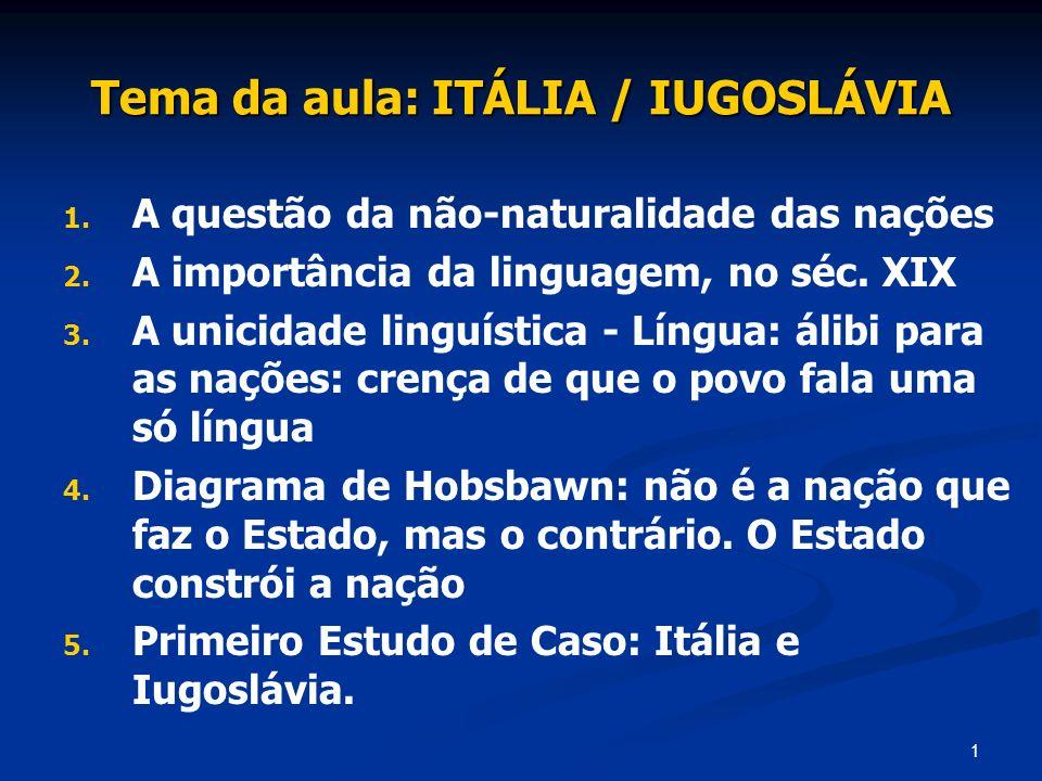 Tema da aula: ITÁLIA / IUGOSLÁVIA