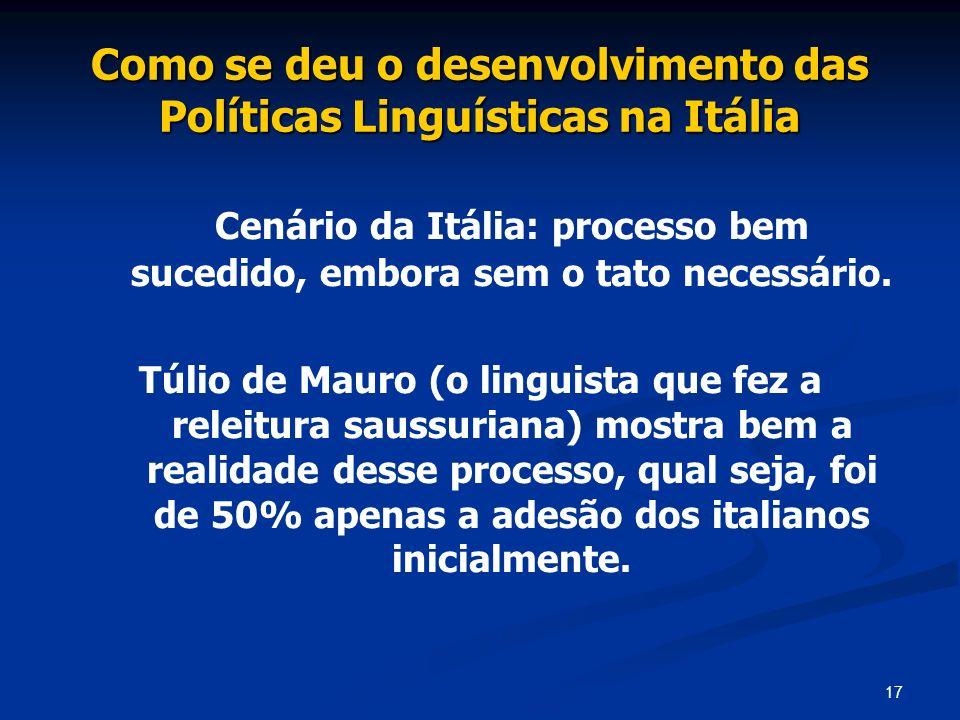 Como se deu o desenvolvimento das Políticas Linguísticas na Itália
