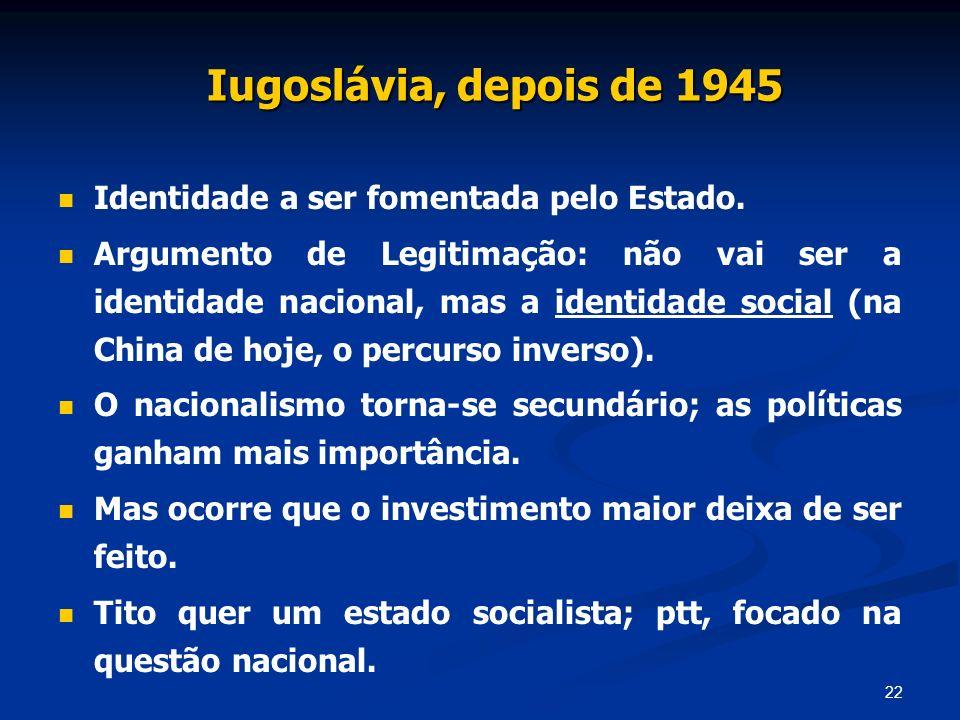 Iugoslávia, depois de 1945 Identidade a ser fomentada pelo Estado.
