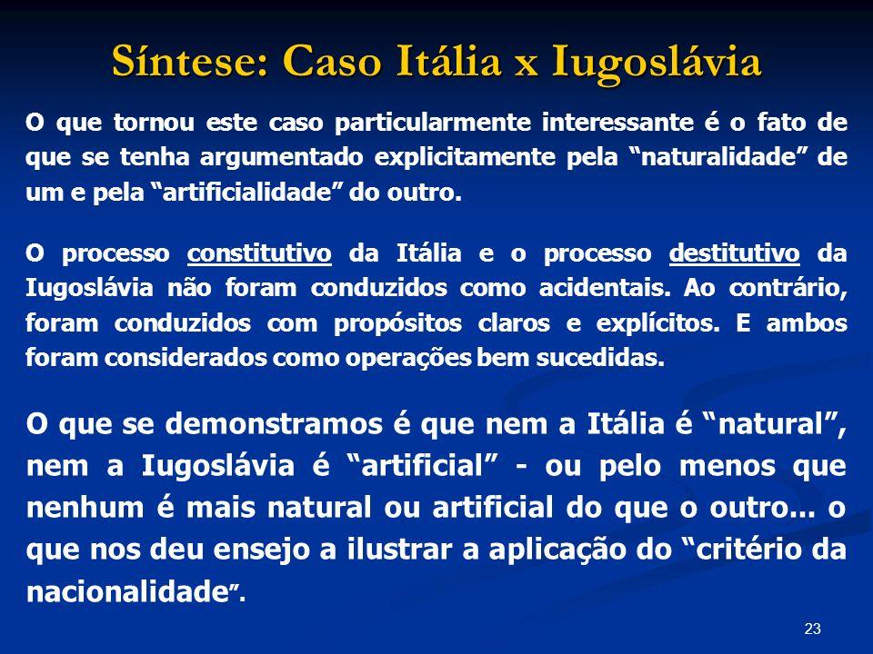 Síntese: Caso Itália x Iugoslávia