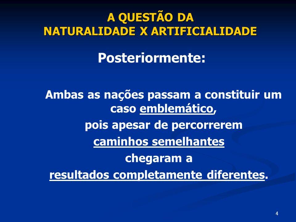Posteriormente: A QUESTÃO DA NATURALIDADE X ARTIFICIALIDADE