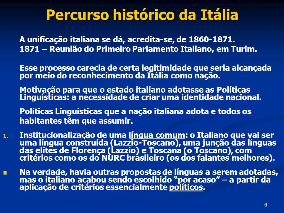 Percurso histórico da Itália