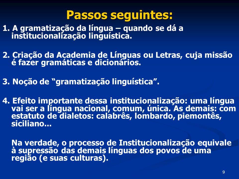 Passos seguintes: 1. A gramatização da língua – quando se dá a institucionalização linguística.