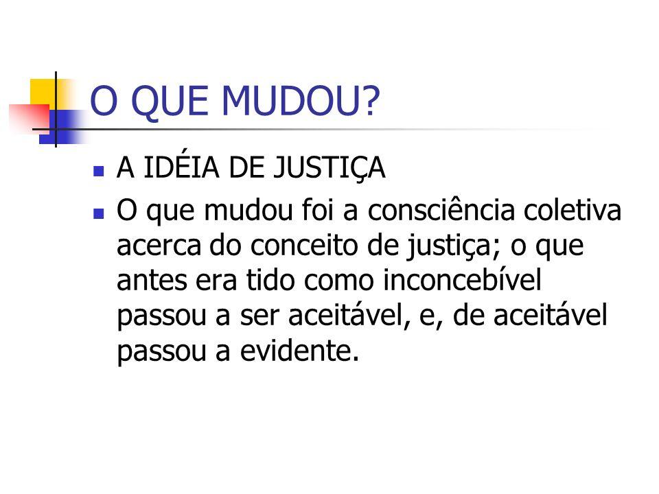 O QUE MUDOU A IDÉIA DE JUSTIÇA