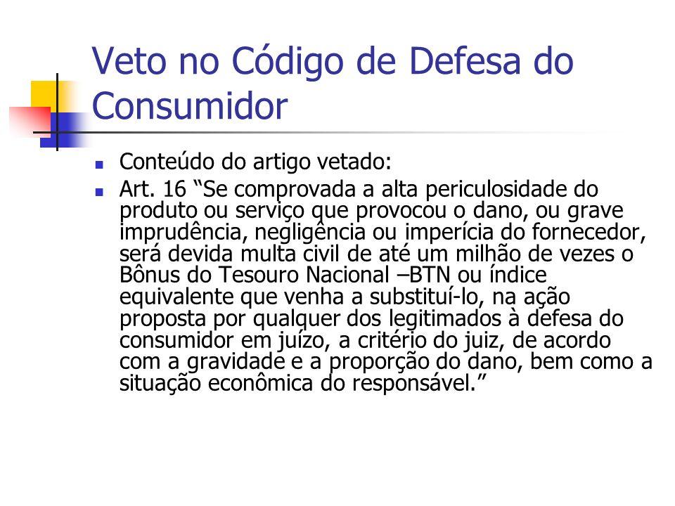 Veto no Código de Defesa do Consumidor