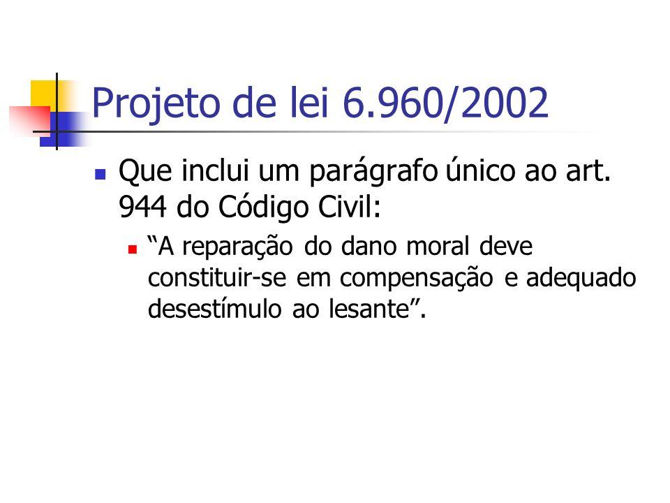 Projeto de lei 6.960/2002 Que inclui um parágrafo único ao art. 944 do Código Civil: