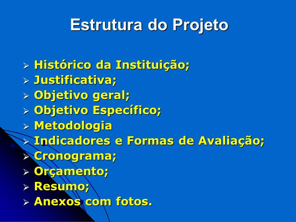 Estrutura do Projeto Histórico da Instituição; Justificativa;
