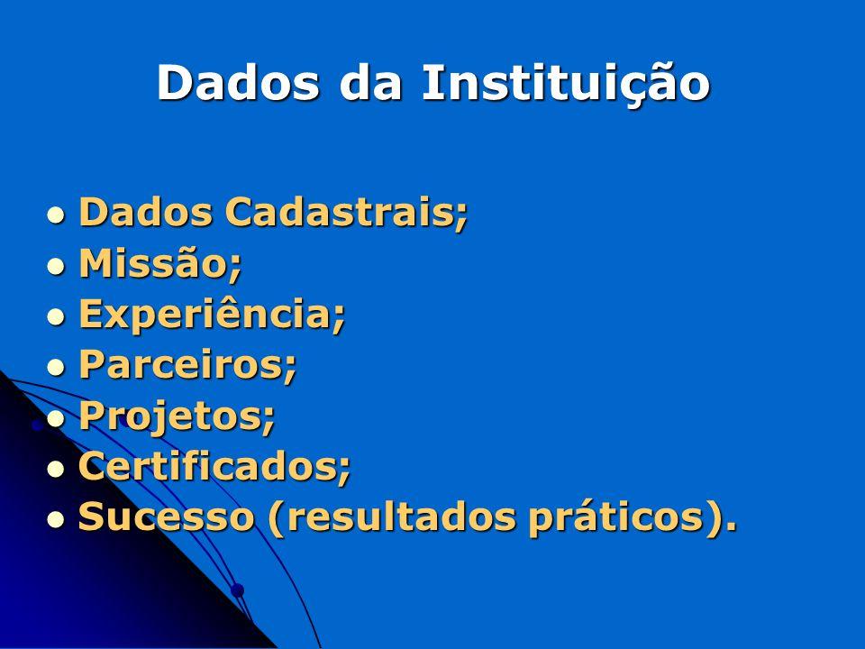 Dados da Instituição Dados Cadastrais; Missão; Experiência; Parceiros;