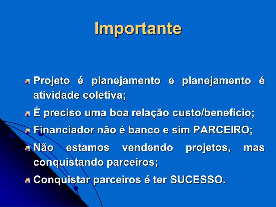 Importante Projeto é planejamento e planejamento é atividade coletiva;