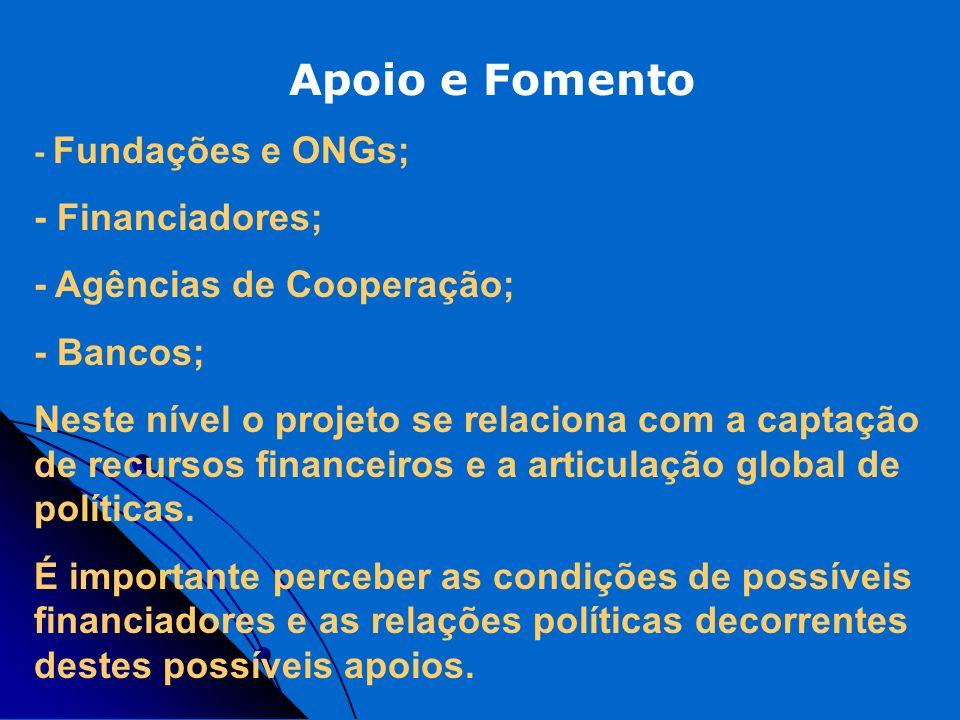 Apoio e Fomento - Financiadores; - Agências de Cooperação; - Bancos;