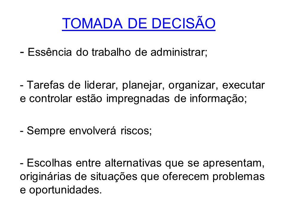 TOMADA DE DECISÃO Essência do trabalho de administrar;