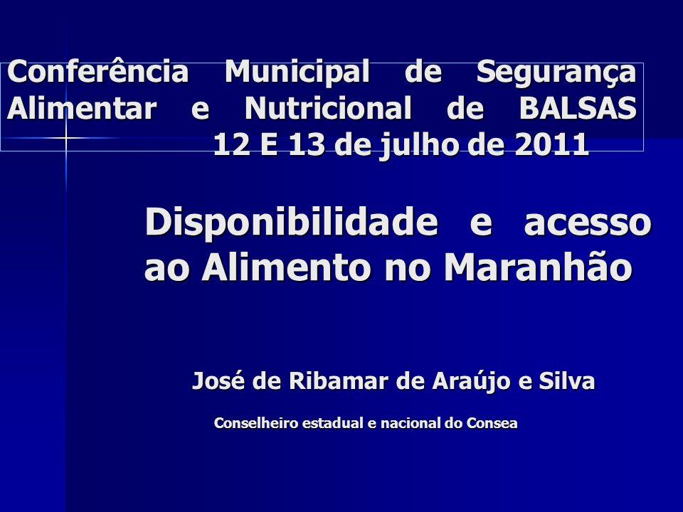 Disponibilidade e acesso ao Alimento no Maranhão