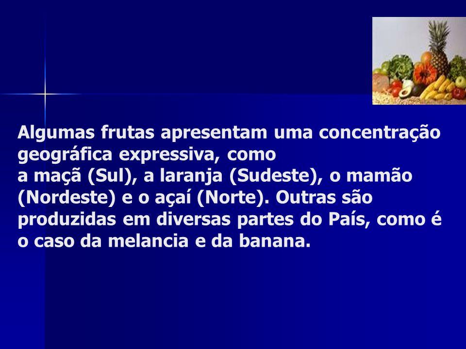 Algumas frutas apresentam uma concentração geográfica expressiva, como a maçã (Sul), a laranja (Sudeste), o mamão (Nordeste) e o açaí (Norte).